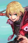 10s 1boy 2019 blonde_hair blue_eyes evolution_championship_series hankuri male_focus monado monolith_soft nintendo short_hair shulk simple_background smile solo super_smash_bros. sword weapon xenoblade_(series) xenoblade_1