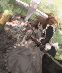 1girl apron black_dress brown_hair check_commentary commentary commentary_request cross day dress frilled_apron frills grass grave highres katana long_sleeves lying maid_apron medium_hair on_ground on_side original sheath sheathed solo sunlight sword take_(trude1945oneetyan) tombstone weapon white_apron yellow_eyes