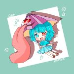 1girl alternate_costume aqua_capelet aqua_eyes aqua_hair aqua_skirt artist_name capelet character_name chibi geta heterochromia highres karakasa_obake long_tongue one-eyed purple_umbrella red_eyes salt_(seasoning) shadow short_hair skirt solo tagme tatara_kogasa tongue touhou umbrella
