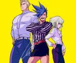 3boys blonde_hair blouson_chiemi blouson_chiemi_(cosplay) blue_hair bob_cut commentary contrapposto cosplay cowboy_shot cravat crossdressing crossed_arms galo_thymos green_hair hand_on_hip kray_foresight lio_fotia looking_at_another miniskirt multiple_boys promare shirt simple_background skirt spiky_hair striped striped_shirt yellow_background