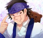 1boy 310_(satopoppo) ainu_clothes asirpa asirpa_(cosplay) bandana bear black_hair cosplay costume_switch facial_scar golden_kamuy red_eyes scar simple_background sugimoto_saichi upper_body