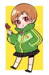 1girl :t atlus badge blush border brown_eyes brown_hair button_badge chewing closed_mouth do_m_kaeru eating eyebrows_visible_through_hair food full_body green_jacket hand_in_pocket holding holding_food houndstooth jacket looking_at_viewer megami_tensei moe persona persona_4 satonaka_chie school_uniform short_hair signature skirt solo tomboy track_jacket two-tone_background unmoving_pattern white_border yasogami_school_uniform yellow_background
