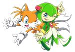 1boy 1girl alien animal animal_ears blue_eyes cosmo_(sonic_x) double_bun dress fox fox_ears fox_tail full_body gloves green_hair highres monster_girl one_eye_closed plant_girl sariinijinoka sega simple_background sonic_team sonic_the_hedgehog sonic_x tail tails_(sonic) tms_entertainment tv_tokyo white_background