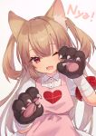 1girl ;d animal_ear_fluff animal_ears apron bandaged_arm bandages bangs brown_gloves brown_hair cat_ears collared_shirt eyebrows_visible_through_hair fang gloves hair_between_eyes head_tilt heart kemonomimi_mode long_hair natori_sana one_eye_closed open_mouth paw_gloves paws pink_apron pink_background puffy_short_sleeves puffy_sleeves red_eyes romaji_text sana_channel shirt short_sleeves simple_background smile solo two_side_up very_long_hair virtual_youtuber white_shirt zumi_tiri