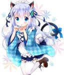 1girl animal_ears apron argyle_kimono back_bow bangs blue_bow blue_eyes blue_flower blue_hair blue_kimono blue_ribbon blue_skirt blush boots bow brown_footwear cat_ears cat_tail eyebrows_visible_through_hair flower frilled_skirt frills gochuumon_wa_usagi_desu_ka? green_flower hair_flower hair_ornament hair_ribbon hands_up highres japanese_clothes kafuu_chino kimono leg_up long_hair looking_at_viewer maid maid_headdress miniskirt open_mouth paw_pose paw_print ratryu ribbon shiny shiny_hair short_kimono simple_background skirt solo standing standing_on_one_leg tail tail_bow thigh-highs white_background white_legwear wide_sleeves x_hair_ornament