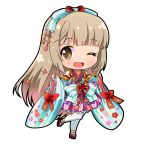 1girl bangs bare_shoulders bell black_outline blue_bow blue_kimono blush bow brown_eyes brown_hair chibi detached_sleeves eyebrows_visible_through_hair flat_chest floral_print flower_knot frilled_skirt frills full_body hair_bow hands_up happy idolmaster idolmaster_cinderella_girls japanese_clothes jingle_bell kimono leg_up long_hair one_eye_closed open_mouth platform_footwear pleated_skirt purple_footwear purple_skirt ratryu red_bow ribbon-trimmed_sleeves ribbon_trim sandals short_kimono simple_background skirt sleeveless sleeveless_kimono smile solo standing standing_on_one_leg striped striped_kimono thigh-highs very_long_hair white_background white_legwear wide_sleeves yorita_yoshino