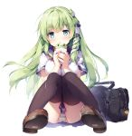 1girl alternate_costume ass bag bangs black_legwear blue_eyes blue_sailor_collar blue_skirt blush breasts brown_footwear cellphone commentary_request contemporary eyebrows_visible_through_hair frog_hair_ornament green_hair hair_ornament hair_tubes holding holding_phone knees_together_feet_apart knees_up kochiya_sanae large_breasts loafers long_hair looking_at_viewer miyase_mahiro neckerchief open_mouth panties pantyshot pantyshot_(sitting) parted_lips phone pleated_skirt red_neckwear sailor_collar school_bag school_uniform serafuku shirt shoes short_sleeves sidelocks simple_background sitting skirt smartphone snake_hair_ornament solo striped striped_panties thigh-highs thighs touhou underwear white_background white_serafuku white_shirt