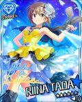 blush brown_hair cape character_name dress green_eyes idolmaster idolmaster_cinderella_girls short_hair smile stars strapless_dress tada_riina