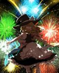 1girl :d apron backlighting bangs black_dress blonde_hair bow braid commentary_request cowboy_shot dress fireworks floating_hair frilled_apron frilled_dress frilled_sleeves frills hair_bow hat hat_bow highres joniko1110 kirisame_marisa looking_at_viewer medium_hair night open_mouth outstretched_arms outstretched_hand petticoat red_bow sash sidelocks single_braid smile solo spread_arms star touhou waist_apron white_bow white_legwear witch_hat yellow_eyes