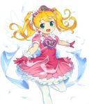 1girl alternate_hair_color angel_wings blonde_hair dress earrings energy_wings feathers gloves green_eyes jewelry om_(nk2007) open_mouth outstretched_arms pantyhose pink_dress pink_gloves saru_getchu sayaka_(saru_getchu) simple_background smile solo standing standing_on_one_leg tiara twintails white_background white_legwear wings