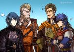 armor blue_eyes blue_hair brown_hair byleth_(fire_emblem) byleth_(fire_emblem)_(male) cape father_and_son fire_emblem fire_emblem:_path_of_radiance fire_emblem:_three_houses gloves greil gzei headband ike_(fire_emblem) long_hair male_focus multiple_boys open_mouth short_hair simple_background smile upper_body white_background
