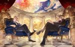 2boys blonde_hair blue_eyes blush braid chair dio_brando earrings father_and_son formal giorno_giovanna gold_experience highres jewelry jojo_no_kimyou_na_bouken long_hair looking_at_viewer male_focus multiple_boys necktie phantom_blood picube525528 pompadour short_hair stand_(jojo) stardust_crusaders suit the_world tuxedo vampire vento_aureo