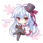 1girl animal bangs black_footwear black_headwear black_legwear blue_hair blush book bow brown_eyes cat center_frills character_name chibi closed_mouth commentary_request crossed_legs eyebrows_visible_through_hair floral_background frills fujisaki_mao hair_between_eyes hanairo_heptagram happy_birthday hat hat_bow holding holding_book long_hair long_sleeves mini_hat mini_top_hat necktie open_book pantyhose plaid plaid_skirt pleated_skirt red_bow red_neckwear red_skirt ryuuka_sane shirt shoes sitting skirt solo tilted_headwear top_hat twitter_username very_long_hair white_shirt