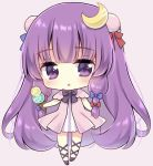 1girl absurdly_long_hair bangs black_footwear black_neckwear blunt_bangs blush bow bowtie chestnut_mouth chibi commentary_request crescent crescent_hair_ornament double_bun dress eyebrows_visible_through_hair food hair_ornament hair_ribbon head_tilt holding holding_food ice_cream ice_cream_cone kagome_f lavender_background leg_ribbon long_hair looking_at_viewer no_hat no_headwear open_clothes open_robe patchouli_knowledge pink_robe purple_hair ribbon robe shiny shiny_hair short_dress sidelocks simple_background solo standing striped striped_dress touhou tress_ribbon vertical-striped_dress vertical_stripes very_long_hair violet_eyes