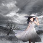 1girl absurdres akky_(akimi1127) album_cover arm_up bangs bare_arms bare_shoulders bare_tree black_hair clouds cloudy_sky commentary_request cover dress eyebrows_visible_through_hair glowing hair_between_eyes hand_on_headwear hat highres huge_filesize jewelry long_hair monochrome_background original pendant red_eyes sky sleeveless sleeveless_dress solo standing sun_hat tree water white_dress white_headwear