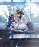 2girls blush chair cover eye_contact fly_(marguerite) hand_on_another's_cheek hand_on_another's_face long_hair looking_at_another multiple_girls ponytail reflection short_hair sitting smile standing student sunlight table teacher teacher_and_student tree watch window yuri