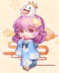 1girl :d bangs bare_shoulders beige_background blue_kimono blue_sash blush blush_stickers brown_footwear commentary_request covered_mouth crown eyebrows_visible_through_hair fan floral_background floral_print flower folding_fan full_body ghost hair_between_eyes hair_flower hair_ornament highres holding holding_fan japanese_clothes kimono long_sleeves looking_at_viewer mini_crown no_hat no_headwear obi open_mouth pink_eyes pink_hair saigyouji_yuyuko sandals sash shangguan_feiying short_hair smile socks solo sparkle standing tongue tongue_out touhou white_legwear wide_sleeves yellow_flower