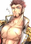 ! 1boy abs bara beard blue_eyes blush brown_hair chest epaulettes facial_hair fate/grand_order fate_(series) highres jacket long_sleeves looking_at_viewer male_focus muscle napoleon_bonaparte_(fate/grand_order) nipples open_clothes open_jacket pectorals raised_eyebrows scar solo translated uniform white_background zuman_(zmnjo1440)