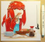 1girl blue_dress bracelet breasts chopsticks dress eating fish_girl food head_fins jewelry lips long_hair marker_(medium) mipha multicolored multicolored_skin neck_ring no_eyebrows omar_dogan photo red_skin rolling_eyes sashimi signature small_breasts solo soy_sauce the_legend_of_zelda the_legend_of_zelda:_breath_of_the_wild traditional_media tuna white_skin yellow_eyes zora