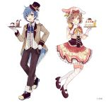 1boy 1girl :d absurdres animal animal_ears animal_hat animal_on_shoulder belt belt_buckle bendy_straw bird black_belt black_footwear blue_eyes blue_hair blue_neckwear blush bow breasts brown_eyes brown_footwear brown_hair brown_headwear brown_jacket brown_pants brown_skirt buckle bunny_hat cake center_frills chick closed_mouth collared_shirt cup diagonal_stripes dress_shirt drinking_glass drinking_straw fake_animal_ears food frills gloves hand_up hat highres holding holding_plate jacket kaito long_sleeves looking_at_viewer mary_janes meiko mini_hat mini_top_hat mismatched_legwear open_clothes open_jacket open_mouth pants penguin plate pleated_skirt pudding rabbit_ears red_bow sakura_oriko shirt shoes short_hair simple_background skirt small_breasts smile striped thigh-highs tilted_headwear tongue tongue_out top_hat under_boob upper_teeth vocaloid watermark white_background white_gloves white_legwear white_shirt yellow_bow