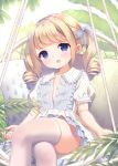 1girl :o bangs blue_bow blue_eyes blush bow chitosezaka_suzu collarbone collared_dress commentary_request crossed_legs dress eyebrows_visible_through_hair frilled_dress frilled_shirt_collar frilled_sleeves frills hair_bow head_tilt light_brown_hair long_hair looking_at_viewer open_clothes open_dress open_mouth original puffy_short_sleeves puffy_sleeves ringlets see-through short_sleeves sidelocks sitting solo thigh-highs twintails unbuttoned white_dress white_legwear