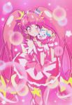 1girl ;d ahoge blush closed_mouth cure_star eyebrows_visible_through_hair fuwa_(precure) highres hoshina_hikaru long_hair looking_at_viewer magical_girl one_eye_closed open_mouth pink_background pink_eyes pink_hair pink_legwear pink_skirt pink_theme precure shunciwi skirt smile standing star star_twinkle_precure thigh-highs twintails very_long_hair