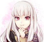 1girl artist_request bangs blush epaulettes fire_emblem fire_emblem:_three_houses jacket long_hair long_sleeves looking_at_viewer lysithea_von_cordelia open_mouth pink_eyes simple_background smile solo uniform upper_body violet_eyes white_hair
