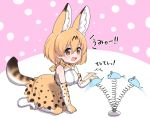 1girl afterimage animal_ears bare_shoulders blonde_hair boots bow bowtie cat_teaser commentary_request elbow_gloves eyebrows_visible_through_hair gloves high-waist_skirt kemono_friends kemono_friends_pavilion kneeling playground_equipment_(kemono_friends_pavilion) print_gloves print_legwear print_neckwear print_skirt ransusan serval_(kemono_friends) serval_ears serval_print serval_tail short_hair skirt sleeveless solo tail thigh-highs translation_request yellow_eyes