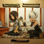 2girls black_blindfold black_dress black_hair black_hairband black_legwear blindfold bottle breasts casual commentary crossover cyberpunk cyborg dress elbow_gloves english_commentary gally gloves grin gunnm hairband holding holding_hair indian_style indoors marker_(medium) mole mole_under_mouth multiple_girls nier_(series) nier_automata omar_dogan parted_lips photo polishing power_tool science_fiction seiza short_hair shorts silver_hair sitting smile spray_bottle thigh-highs topless traditional_media yorha_no._2_type_b