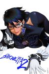 1girl absurdres adjusting_eyewear artist_name ass bayonetta bayonetta_(character) bayonetta_2 black_hair blue_eyes blush bodysuit breasts earrings elbow_gloves eyelashes eyeliner eyeshadow glasses gloves highres jewelry large_breasts lips lipstick looking_at_viewer lying makeup mole mole_under_mouth on_stomach one_eye_closed short_hair simple_background smile solo talez01