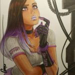 1girl black_gloves black_hair breasts casual commentary dark_skin english_commentary eyelashes eyeshadow gloves hair_down lipstick long_hair makeup marker_(medium) mascara medium_breasts mole mole_under_eye multicolored_hair omar_dogan overwatch piercing pin purple_hair purple_lipstick shirt signature solo sombra_(overwatch) t-shirt thinking traditional_media two-tone_hair violet_eyes