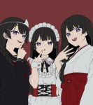 3girls :d :o apron bangs black_hair black_sailor_collar black_serafuku black_shirt black_skirt blush braid eyebrows_visible_through_hair fingernails frilled_apron frills hair_over_shoulder hakama hand_up japanese_clothes kimono long_hair long_sleeves low_twintails miko multiple_girls multiple_persona nijisanji open_mouth parted_lips pleated_skirt puffy_short_sleeves puffy_sleeves red_background red_hakama sailor_collar school_uniform serafuku shirt short_sleeves simple_background skirt smile translation_request tsukino_mito twin_braids twintails upper_teeth v very_long_hair violet_eyes virtual_youtuber w waist_apron white_apron white_kimono white_shirt wrist_cuffs yamabukiiro