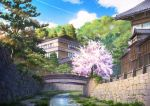 blue_sky bridge building canal cherry_blossoms clouds cloudy_sky condensation_trail day fence grass highres house japan leaf leaves_in_wind light_rays niko_p no_humans original outdoors petals rock scenery sky sunbeam sunlight tile_roof tree water