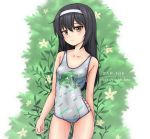 1girl absurdres animal_print artist_name ass_visible_through_thighs black_hair blush breasts brown_eyes closed_mouth collarbone eyebrows_visible_through_hair flower frog_print girls_und_panzer hair_ornament hairband highres long_hair looking_at_viewer outdoors reizei_mako shiny shiny_clothes shiny_hair shiny_skin small_breasts solo swimsuit swimwear zap-nik