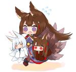 3girls akagi_(azur_lane) amagi_(azur_lane) animal_ears azur_lane bangs black_kimono blunt_bangs breasts brown_hair choker eyeliner eyeshadow fox_ears fox_girl fox_tail hair_ornament japanese_clothes kaga_(azur_lane) kimono kitsune large_breasts long_hair makeup multiple_girls multiple_tails putimaxi red_eyes red_skirt skirt tail thick_eyebrows violet_eyes white_kimono wide_sleeves