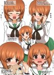 1girl absurdres bandages bangs black_legwear black_neckwear blouse blush boko_(girls_und_panzer) brown_eyes brown_hair closed_eyes closed_mouth commentary covering_mouth embarrassed eyebrows_visible_through_hair flying_sweatdrops frown full-face_blush girls_und_panzer green_skirt hands_in_hair highres holding holding_stuffed_animal kumo_(atm) leaning_forward long_sleeves looking_at_viewer looking_back miniskirt multiple_views neckerchief nishizumi_miho ooarai_school_uniform open_mouth pleated_skirt school_uniform serafuku short_hair simple_background skirt socks standing stuffed_animal stuffed_toy sweatdrop teddy_bear translated white_background white_blouse