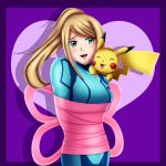 1girl 1other arms_behind_back blonde_hair blue_eyes blush creatures_(company) crossover deviantart game_freak gen_1_pokemon happy human metroid mouse nintendo nintendo_ead olm_digital open_mouth pikachu plugsuit pokemon ponytail retro_studios ribbon ribbons samus_aran sincity2100 sora_(company) super_smash_bros. super_smash_bros_brawl tail tied_up zero_suit