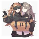 2girls armband brown_hair closed_eyes fingerless_gloves girls_frontline gloves goggles hood hooded_jacket jacket maiqtells mod3_(girls_frontline) multiple_girls scar scar_across_eye shared_jacket siblings sisters twins twintails ump45_(girls_frontline) ump9_(girls_frontline)