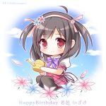 1girl ahoge black_hair black_legwear blue_flower blue_sky blush bow character_name chibi closed_mouth clouds collared_shirt commentary_request day dress_shirt flower hair_flower hair_ornament hairband hanairo_heptagram happy_birthday holding pantyhose pink_flower pink_hairband plaid plaid_bow plaid_skirt puffy_short_sleeves puffy_sleeves purple_bow red_eyes red_skirt ryuuka_sane shirt short_sleeves sitting skirt sky smile solo twitter_username two_side_up wakamura_izuki watering_can white_shirt