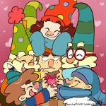 annoyed bashful_(the_7d) beard blonde_hair brown_hair cone_hat curly_hair deviantart disney doc_(the_7d) dopey_(the_7d) feather freckles gem glasses gradient_background grumpy_(the_7d) happy_(the_7d) hat heart-shaped_gem hug hugging nose_blush polka_dot_hat red_frame_glasses scraf signature sleepy_(the_7d) sleeves_past_fingers sleeves_past_wrists smile sneezy_(the_7d) snow_white_and_the_seven_dwarfs striped_shirt striped_sweater the_7d turtleneck turtleneck_sweater web_address