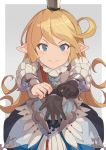 1girl blonde_hair blue_eyes blush brown_gloves charlotta_fenia closed_mouth crown gloves gloves_removed granblue_fantasy grey_background harvin hinami_(hinatamizu) long_hair looking_at_viewer pointy_ears smile solo