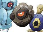 asu91799492 beldum coal gen_3_pokemon gen_5_pokemon gen_8_pokemon metal pokemon pokemon_(creature) pokemon_(game) red_eyes roggenrola rolycoly simple_background single_eye white_background