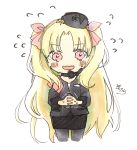 1girl bangs black_bow black_choker black_headwear black_jacket black_skirt blonde_hair blush bow choker cropped_legs ereshkigal_(fate/grand_order) eyebrows_visible_through_hair fate/grand_order fate_(series) flying_sweatdrops forehead grey_legwear hair_ribbon hands_together highres interlocked_fingers jacket long_hair long_sleeves nervous_smile own_hands_together pantyhose parted_bangs pencil_skirt pink_eyes red_ribbon ribbon signature simple_background skirt sofra solo sweat tilted_headwear trembling two_side_up very_long_hair wavy_mouth white_background