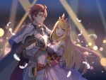 1boy 1girl aqua_eyes armor blonde_hair blue_eyes brown_hair chelle_(dragalia_lost) closed_mouth cowboy_shot dancing dark_background dragalia_lost dress english_commentary expressionless eyebrows_visible_through_hair feathers gradient gradient_background happy_(artist) highres holding_hands knight leif_(dragalia_lost) lens_flare light_particles long_hair open_mouth princess short_hair smile spotlight tiara very_long_hair white_feathers