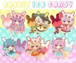 >_o 6+girls :o ;d animal_ears animal_hat bangs bare_arms bare_shoulders black_bow black_headwear blonde_hair blue_dress blue_eyes blue_hair blunt_bangs blush bow bunny_hat candy chibi closed_mouth commentary_request dress eyebrows_visible_through_hair fake_animal_ears flandre_scarlet food green_bow green_eyes green_hair hair_between_eyes hat hat_bow heterochromia komeiji_koishi komeiji_satori long_hair marshmallow_mille mob_cap multicolored multicolored_background multiple_girls one_eye_closed open_mouth orange_dress parted_lips patchouli_knowledge pink_dress pink_headwear polka_dot polka_dot_background purple_bow purple_dress purple_hair rabbit_ears red_bow red_eyes remilia_scarlet sailor_collar sailor_dress siblings sisters sleeveless sleeveless_dress smile striped striped_bow tatara_kogasa third_eye touhou very_long_hair violet_eyes white_sailor_collar yellow_bow yellow_dress