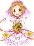 1girl back_bow bare_shoulders blush bouquet bow brown_eyes brown_hair collarbone dress elbow_gloves flat_chest flower gloves hair_flower hair_ornament hairclip hands_together hands_up holding idolmaster idolmaster_cinderella_girls looking_at_viewer neck_ribbon open_mouth pink_flower ratryu red_flower red_neckwear red_ribbon red_rose ribbon rose ryuuzaki_kaoru shiny shiny_hair shiny_skin short_hair simple_background smile solo standing strapless strapless_dress sunflower teeth thigh-highs thigh_gap veil wedding_dress white_background white_dress white_flower white_gloves white_legwear yellow_bow yellow_flower zettai_ryouiki