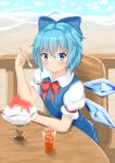1girl :/ ahoge bangs beach blue_dress blue_eyes blue_hair blush bow chair cirno commentary_request cup day deck dress drinking_glass eyebrows_visible_through_hair furrowed_eyebrows hair_between_eyes hair_bow holding holding_spoon ice looking_at_viewer ocean outdoors pinafore_dress puffy_short_sleeves puffy_sleeves red_neckwear red_ribbon ribbon rururiaru shaved_ice shirt short_hair short_sleeves sitting solo spoon table touhou white_shirt wings