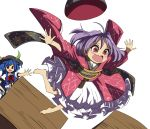 2girls ahoge barefoot blouse blue_hair crate falling food fruit hand_on_hip hat hat_loss highres hinanawi_tenshi japanese_clothes kimono leaf long_hair looking_to_the_side multiple_girls obi open_mouth outstretched_arms outstretched_hand peach petticoat puffy_short_sleeves puffy_sleeves purple_hair pushing red_eyes sash shope short_hair short_sleeves sidelocks simple_background spread_arms sukuna_shinmyoumaru tears touhou very_long_hair white_background white_blouse
