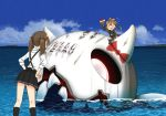 2girls annin_musou arm_up blue_sky bow brown_hair commentary_request fairy_(kantai_collection) floating_fortress_(kantai_collection) flying_sweatdrops gloves hair_between_eyes hands_on_hips hello_kitty hello_kitty_(character) horns jacket kantai_collection long_sleeves multiple_girls no_hat no_headwear ocean open_mouth paintbrush pleated_skirt ponytail sanrio shinkaisei-kan shirt skirt sky smile suspenders twintails vest white_shirt