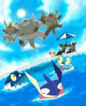 braixen chesnaught chespin closed_eyes cloudy_sky delphox fennekin froakie frogadier greninja leaping pokemon pokemon_(creature) pokemon_xy pool quilladin sun swimming winick-lim